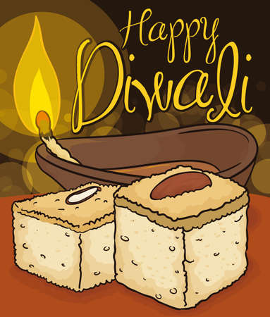Poster with traditional Barfi dessert with almonds and lighted Diya lamp to celebrate Diwali Festival.