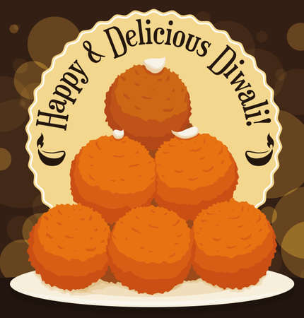 Poster with delicious Laddu desserts piled up in a lighted night to enjoy in Diwali celebration. Иллюстрация