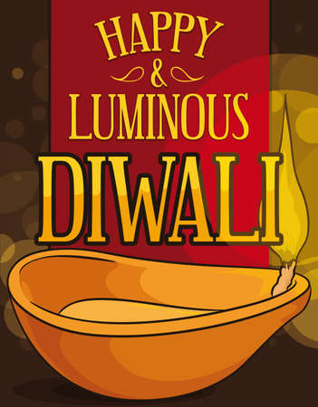 Poster with a golden Diya or traditional oil lamp, illuminating the special night of Diwali with red ribbon and greeting message with bokeh in the background.