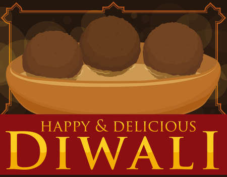 Poster with a delicious Gulab jamun soaked in syrup floating inside in a bowl to celebrate a happy Diwali.