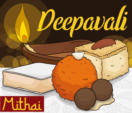 """Poster with a table and delicious desserts or """"mithai"""" for Deepavali -or Diwali- celebration: laddu, barfi, gulab jamun in syrup, kaju katli slice and a lighted diya lamp."""