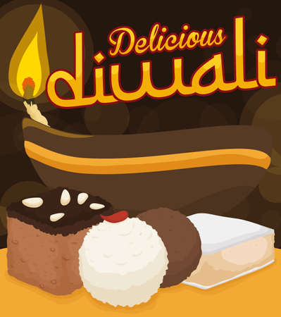 Poster with a lighted diya lamp and delicious hindu cuisine desserts for Diwali celebration: barfi, laddu, gulab jamun and kaju katli. Illustration