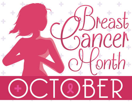Poster with proud woman silhouette practicing breast self-examination, symbolizing the call of all women that prevent and fight against Breast Cancer in October.
