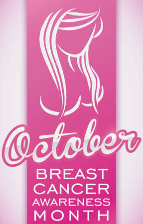 Poster with beautiful woman silhouette covered in long hair to celebrate a special October: month of Breast Cancer Awareness.
