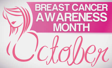 Banner with pink woman silhouette and label for Breast Cancer Awareness Month: October.