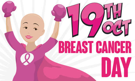 Banner with victorious bald female hero -or shero- with box gloves and cape celebrating Breast Cancer Day in October 19.