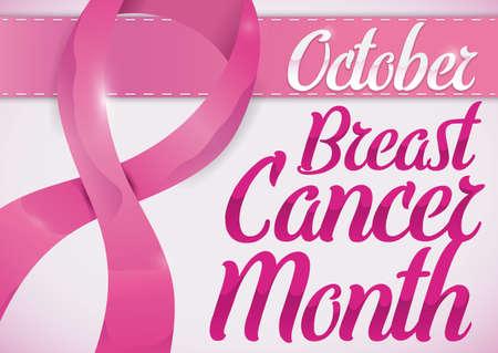 Commemorative poster for Breast Cancer Month in October with pink ribbons. Ilustração