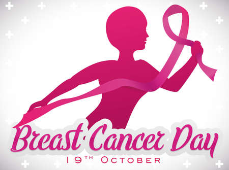 Poster with beautiful brave bald woman holding the pink ribbon, symbol that represents the fight against Breast Cancer in its day, in October 19.
