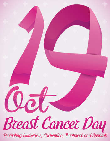 Commemorative poster with pink ribbons like number nineteen and some precepts for Breast Cancer Day in October 19.