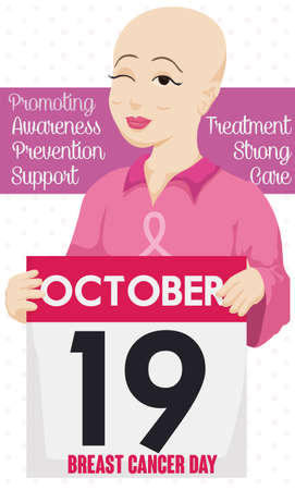 Beautiful bald woman holding a loose-leaf calendar, reminding at you the Breast Cancer Day in October 19.