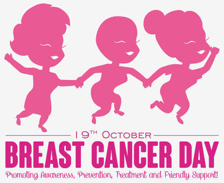 Commemorative design for breast Cancer Day with cute girl friends supporting each other in the fight against this disease and some precepts for this date.