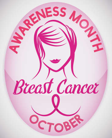 Poster with a shiny pink oval button with chic girl and stylized ribbon, for Breast Cancer celebration in October.