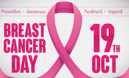 Banner with reminder date for Breast Cancer Day decorated with glossy pink ribbon and some precepts.