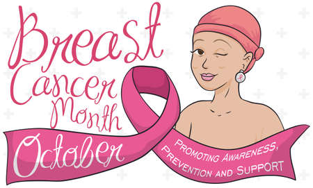 Banner with mature woman with headscarf, winking at you behind a ribbon and celebrating the month against Breast Cancer: October.