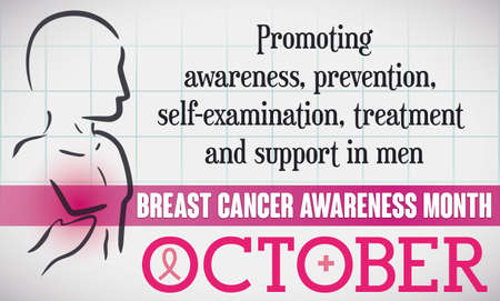Banner like medical exam with male silhouette and some precepts for awareness and prevention for men in the Breast Cancer Awareness Month: October. Ilustração