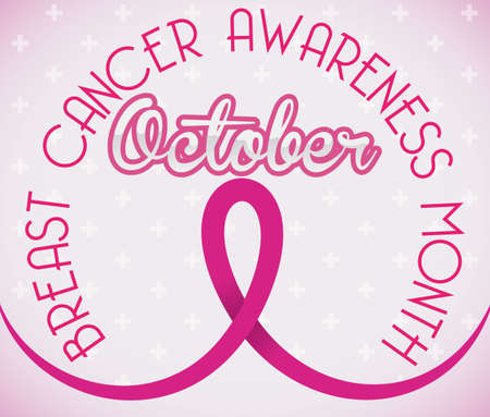 Poster with pink ribbon promoting awareness for Breast Cancer Month: October.