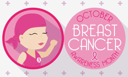 Banner for Breast Cancer Awareness Month in October with cute young girl celebrating her fight against cancer in a design in flat style. Illustration