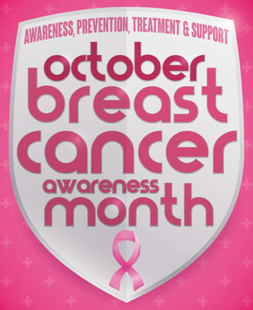 Poster with shield design and some precepts to commemorate Breast Cancer Awareness Month and pink ribbon over cross pattern in the background.