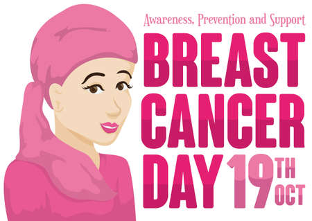Beautiful woman with pink headscarf and greeting text promoting Breast Cancer Day in October 19. Ilustração Vetorial