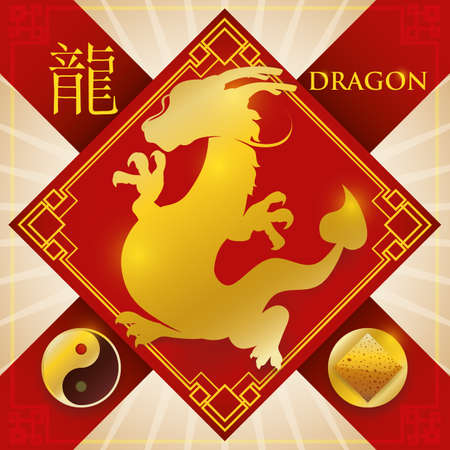 Red rhombus charm and ribbons for good luck and golden silhouette of Chinese zodiac animal: Dragon (written in Chinese calligraphy) with fixed element representation for earth and Yang symbol.