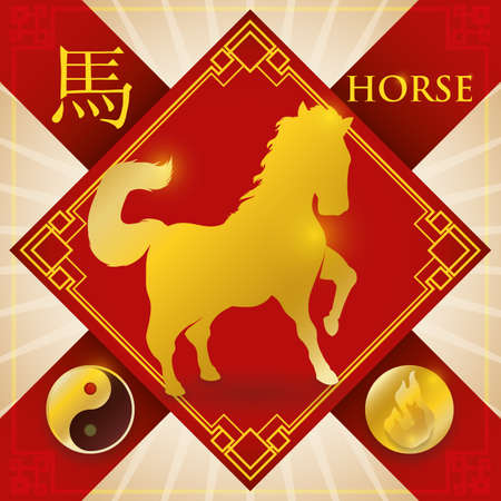 Red and golden design with good luck charm and silhouette of Chinese zodiac animal: Horse (written in Chinese calligraphy) with the fire fixed element representation and Yang symbol.