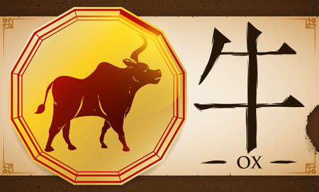 Banner with golden shape with twelve sides for the Chinese zodiac with the Ox (written in Chinese calligraphy) and a scroll over a earthy background for fixed element of this animal.
