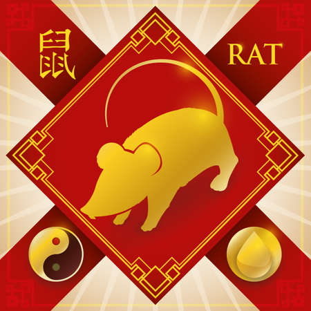 Poster with red good luck charm and golden silhouette of Chinese zodiac animal: Rat (written in Chinese calligraphy) with a drop for the fixed element: water and Yang symbol.