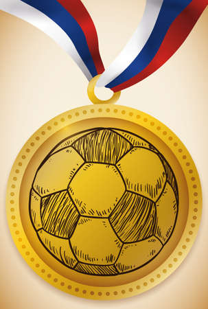 Gold medal award with a hand drawn soccer ball and ribbon with Russian colors for the first place during the international football event in Russia.