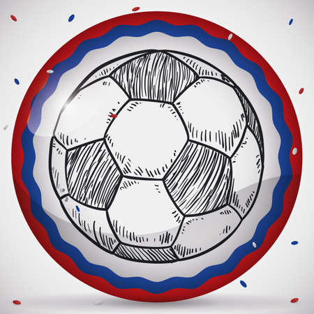 Round button with soccer ball in hand drawn style under confetti shower with the Russian colors promoting football championship event. Illustration