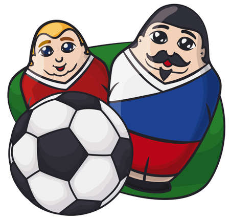 Two male matryoshka dolls painted like soccer players behind a soccer ball, a nice souvenir in this Russian Soccer Championship. 矢量图像