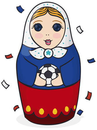 Poster with a cute female matryoshka doll, wearing the colors of Russia and holding a soccer ball under confetti shower.