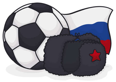 Traditional ushanka hat decorated with star, soccer ball and Russia flag for International Football Championship celebration.