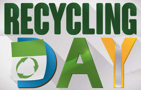 Commemorative banner promoting the proper sorting of recycling with colored letters for Recycling Day.