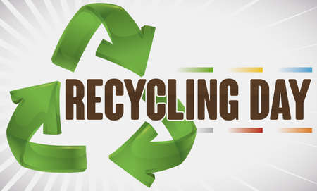Banner promoting recycling with the proper colors for trash disposal and the loop arrows symbol for Recycling Day celebration.