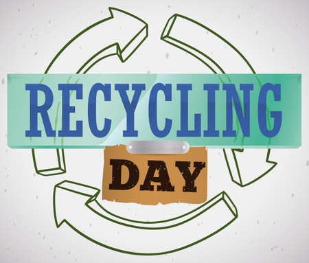 Poster with recyclable materials like glass, plastic, metal and paperboard over arrows symbol with message that promote awareness during Recycling Day celebration.