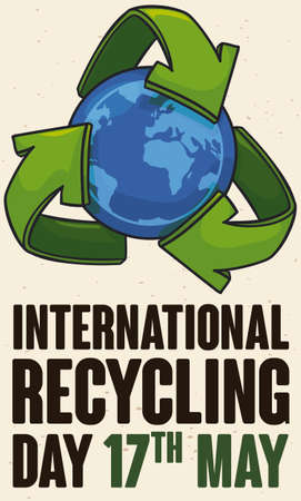 Poster made out of recycled paper with globe design and recycling arrows promoting the International Recycling Day in May 17. 向量圖像