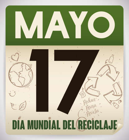 Loose-leaf calendar made out recycled paper with reminder date and doodles promoting recycling activities for Recycling Day (written in Spanish) in May 17. 向量圖像