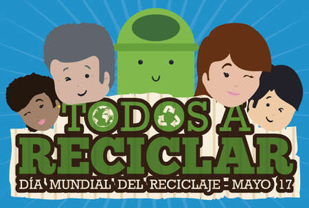 Commemorative banner with people of all ages and races with a cute bin promoting recycling activities in the International Recycling Day (written in Spanish) in May 17. 向量圖像