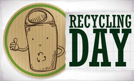 Round button made out of recycled cardboard with a cute doodle recycle bin and a greeting message in notebook paper for Recycling Day. 向量圖像