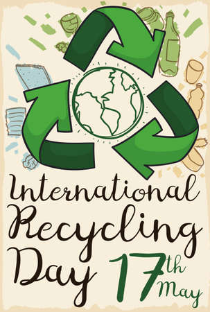 Poster made out of recycled paper and a recycle arrows with some elements susceptible to recycle: paper, plastic, metal and glass to commemorate International Recycling Day in May 17. 向量圖像