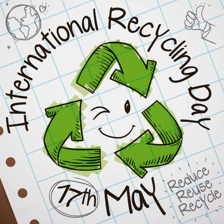 Cute doodles drawing with recycling arrows and a smiling face winking at you with the three R principles, globe and thumbs up for International Recycling Day in May 17. 向量圖像