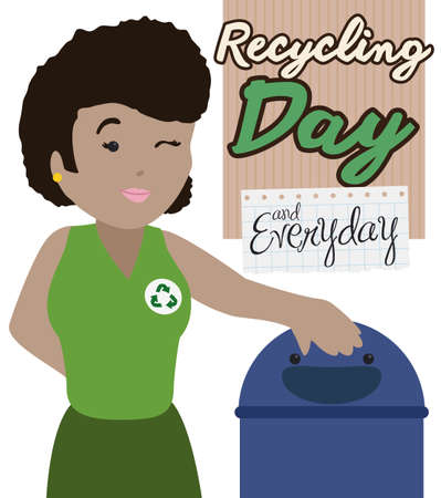 Young brunette lady winking at you next to a cute recycle bin, promoting good sorting and recycling habits for Recycling Day celebration and reminder to do it everyday.