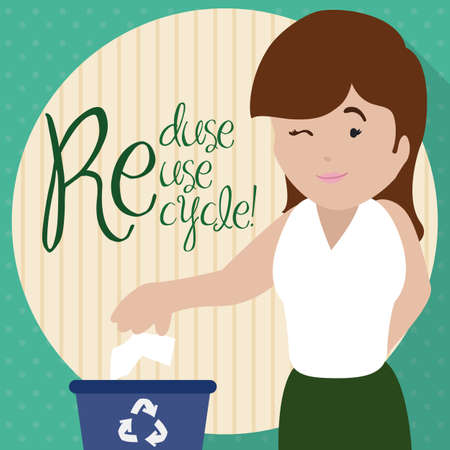 Flat design with a young woman winking at you and promoting the proper trash sorting for Recycling Day with the three