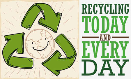 Banner in flat style made out of recycled paper with recycle arrows and happy smiling planet with ecological message to celebrate Recycling Day everyday.