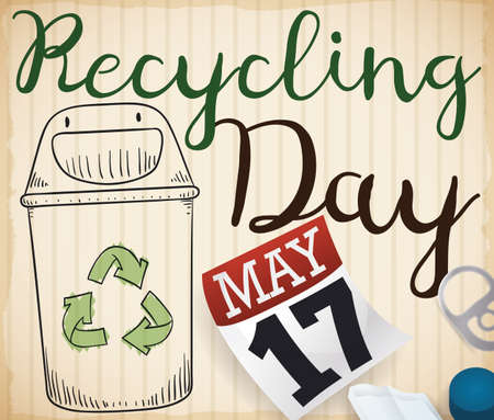 Recycled cardboard with a recycle bin doodle, a loose-leaf calendar with reminder date and some recyclable elements for Recycling Day in May 17.