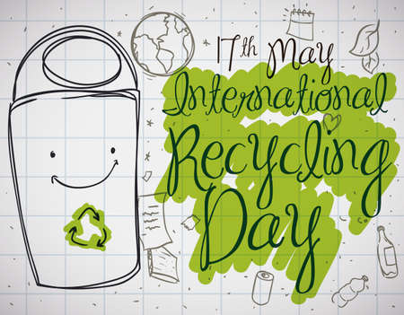 Cute doodle drawings with smiling recycle bin, ready to sort the different recyclable materials: plastic, glass, metal and paper to commemorate International Recycling Day in May 17.