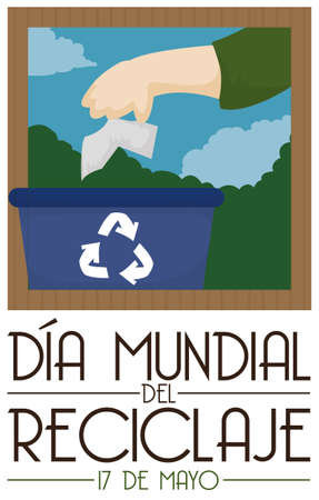 Poster promoting the correct way of sorting trash and recycle paper with a hand and bin to promote International Recycling Day (written in Spanish) celebration. 向量圖像