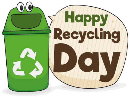 Poster with happy recycle bin character and speech bubble made out of recycled cardboard with greeting message for a happy Recycling Day. 向量圖像