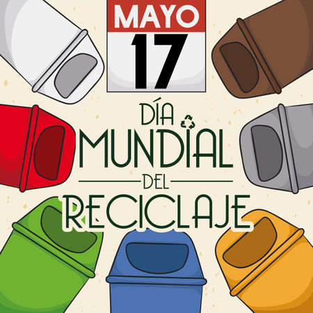 Loose-leaf calendar and colored trash cans for proper trash sorting for the International Recycling Day (written in Spanish) in May 17.