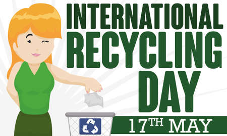 Banner for International Recycling Day with young blonde lady properly recycling paper in a recycle bin and reminder date: May 17. 向量圖像